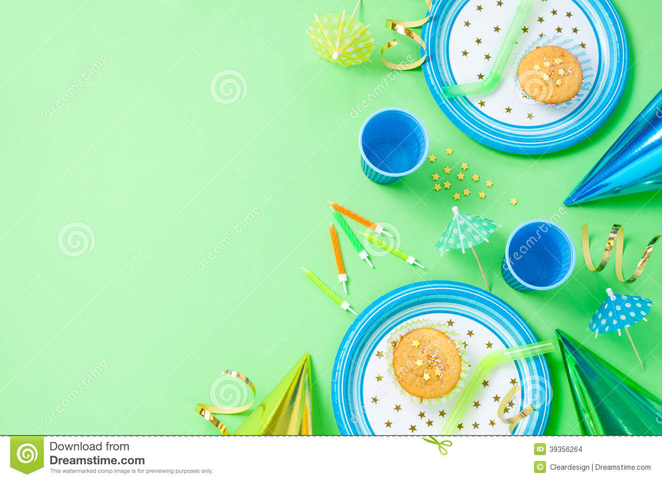 background birthday boy ; boy-birthday-decorations-green-table-setting-above-muffins-drinks-party-gadgets-background-layout-free-text-39356264