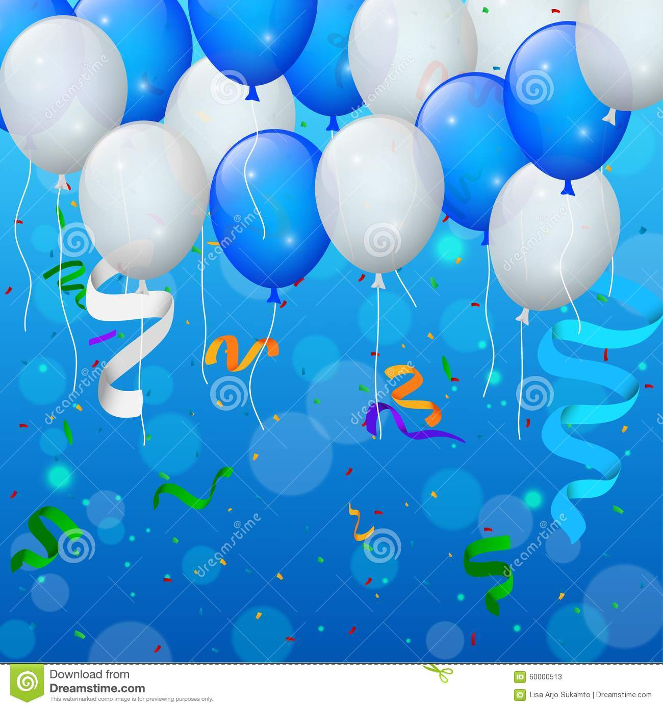 background design for birthday tarpaulin ; happy-birthday-party-balloons-ribbons-background-vector-illustration-60000513