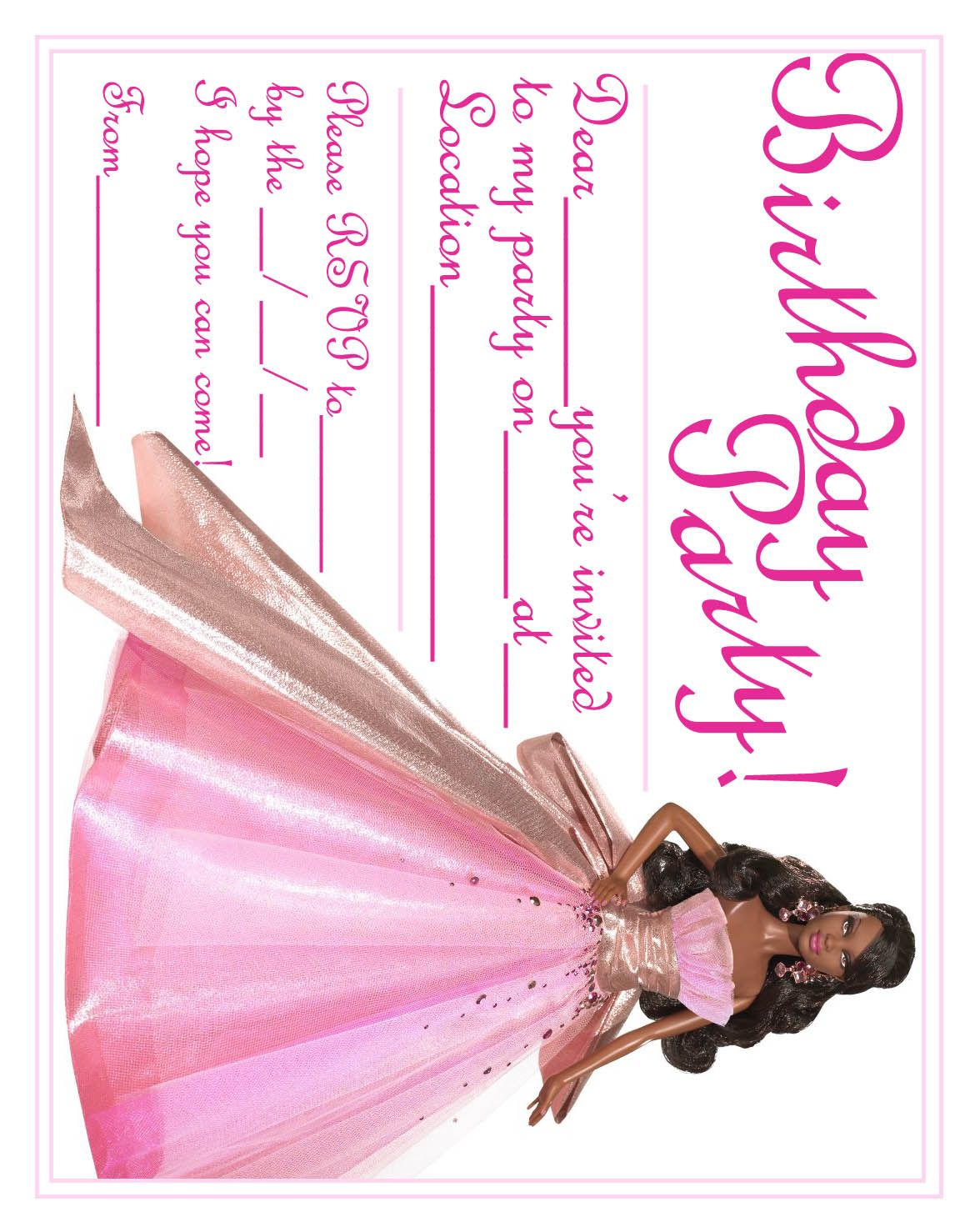 barbie birthday card printable ; 288507d0352b0c9b61ddfac0de93f735