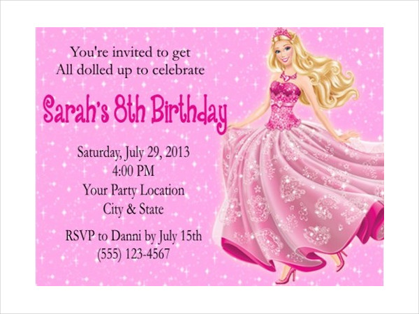 barbie birthday card printable ; Barbie-Pink-Birthday-Card