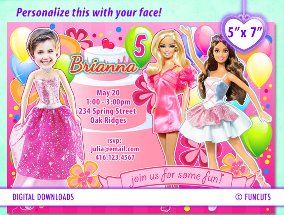 barbie birthday card printable ; Fun-barbie-birthday-party-invitations
