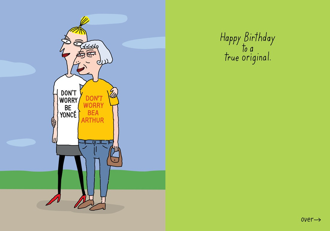 bea arthur birthday card ; 740c_don_t_worry_be