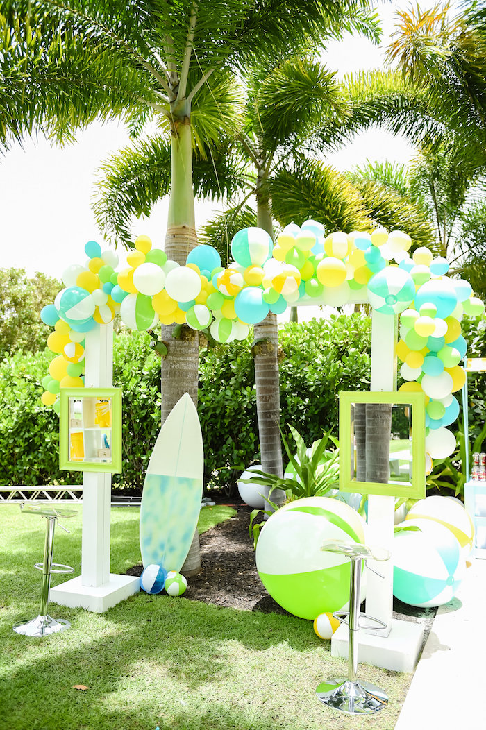 beach birthday party ; Surfs-Up-Beach-Birthday-Party-via-Karas-Party-Ideas-KarasPartyIdeas