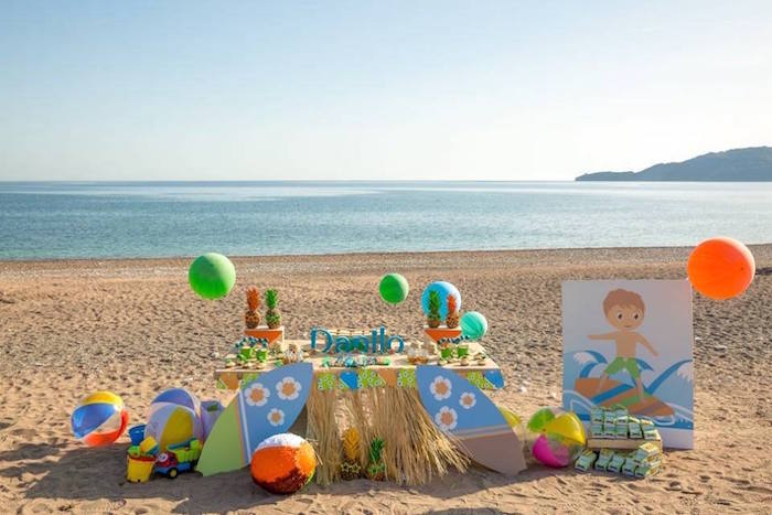 beach birthday party ; Tropical-Surfing-Birthday-Party-via-Karas-Party-Ideas-KarasPartyIdeas