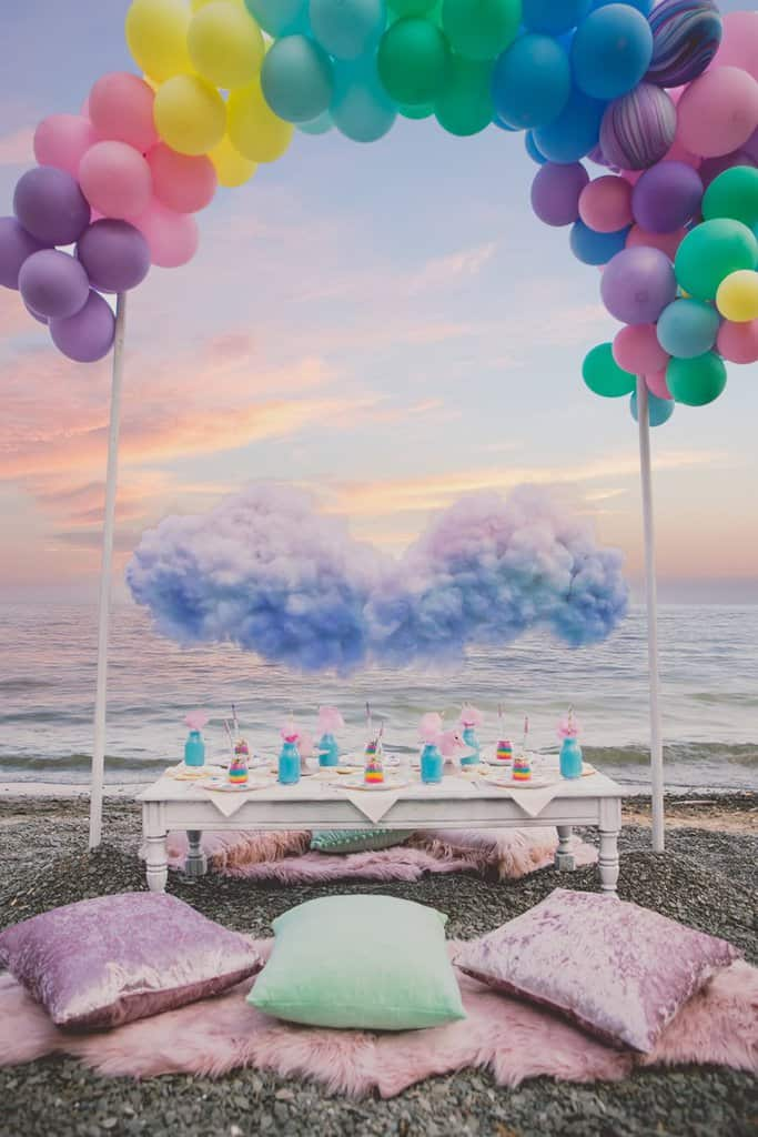 beach birthday party ; unicorn-rainbows-styled-shoot-6