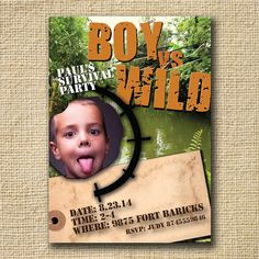 bear grylls birthday card ; d3ba1b02ac6646344204804973a6d0e6--personalized-invitations-party-invitations