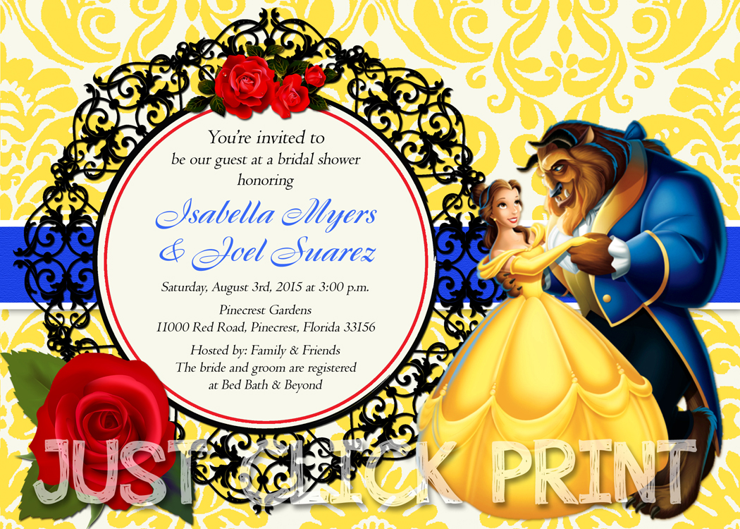 beauty and the beast birthday card ; BeautyBeastShower2_original