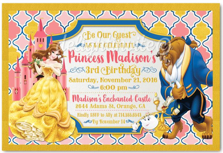 beauty and the beast birthday card ; belle_beauty_and_the_beast_invitations