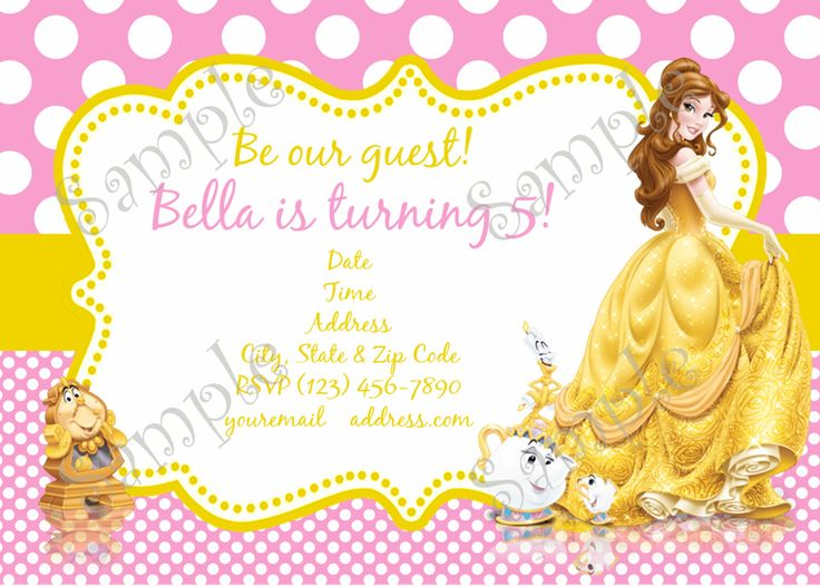 beauty and the beast birthday card ; cf976c0a7795d42dd16ca5610c8fbfed--princess-belle-birthday-party-invitations