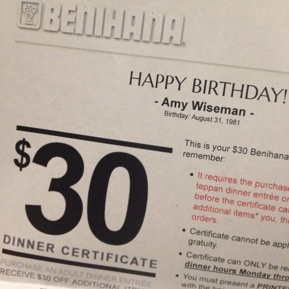 benihana birthday gift card ; o