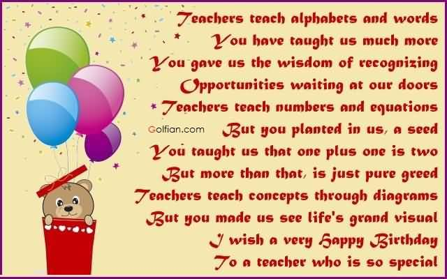 best greeting words for birthday ; Cute-Poem-Birthday-Wishes-For-Special-Teacher-Greetings