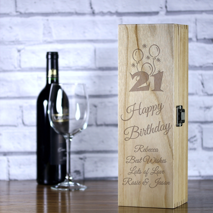 best wine for 21st birthday ; LWB117-personalised-happy-21st-birthday-laser-engraved-wooden-wine-champagne-box