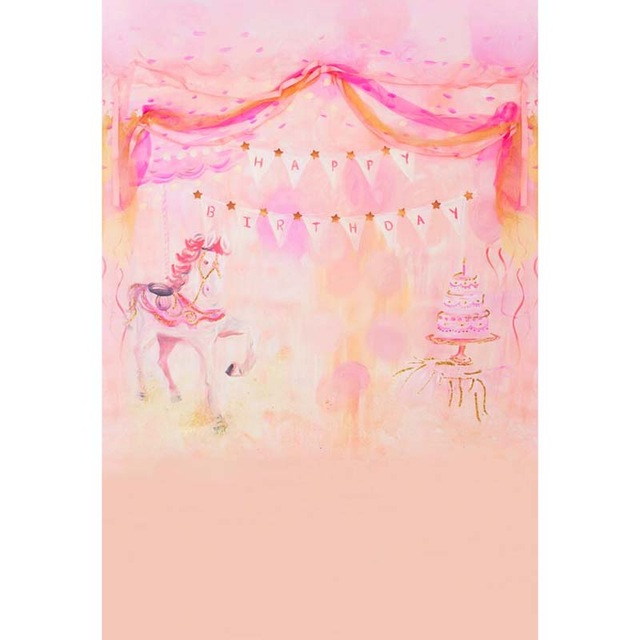 birthday background for baby girl ; Hand-painted-style-vinyl-cloth-pink-birthday-party-photography-backdrops-for-newborn-baby-girl-portrait-photo