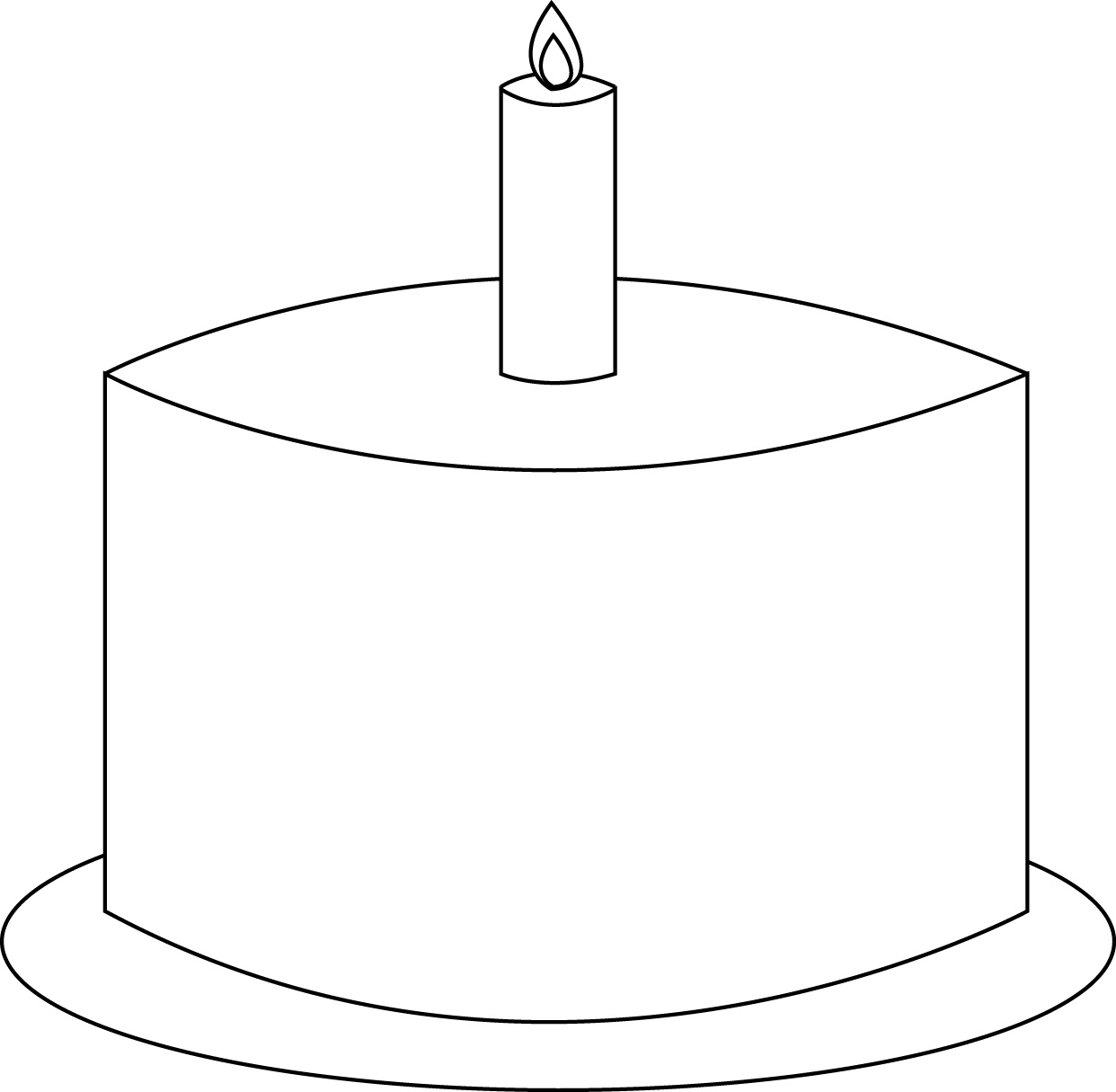 Birthday Cake Cut Out Template Outline 90449