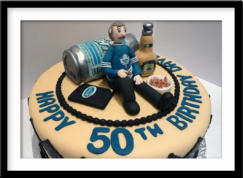 birthday cake photo frame for husband ; beer-50th-birthday-cakes-for-men