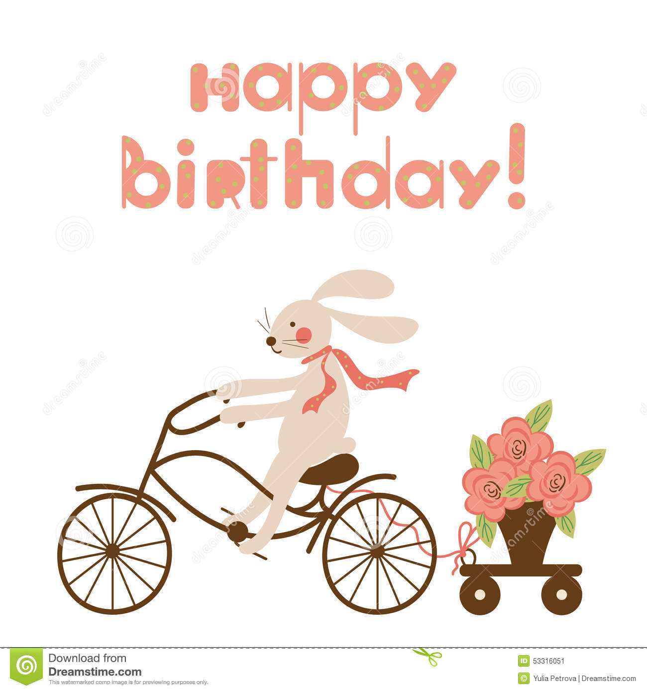 birthday card bicycle rider ; birthday-card-hare-bicycle-flowers-cute-funny-rabbit-pot-trolley-cartoon-happy-design-can-be-used-as-53316051