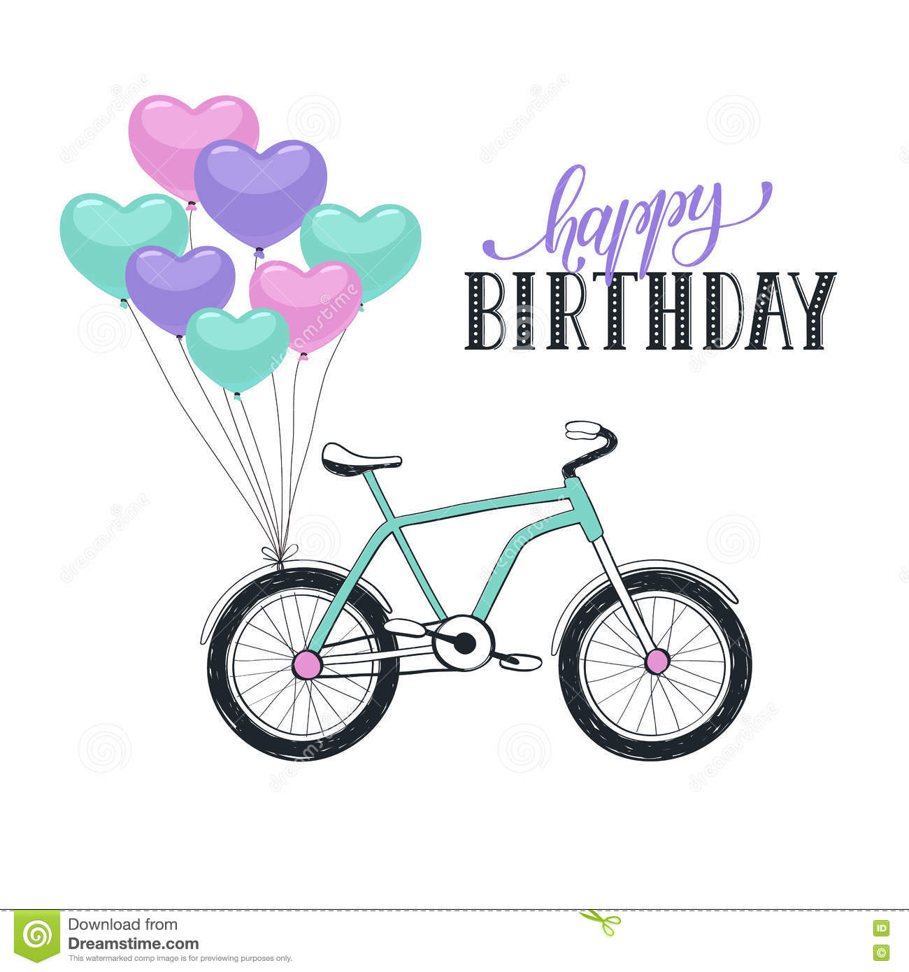 birthday card bicycle rider ; cartoon-bike-balloons-happy-birthday-greeting-card-isolated-white-background-hand-drawn-bycicle-colorful-heart-shape-70346179
