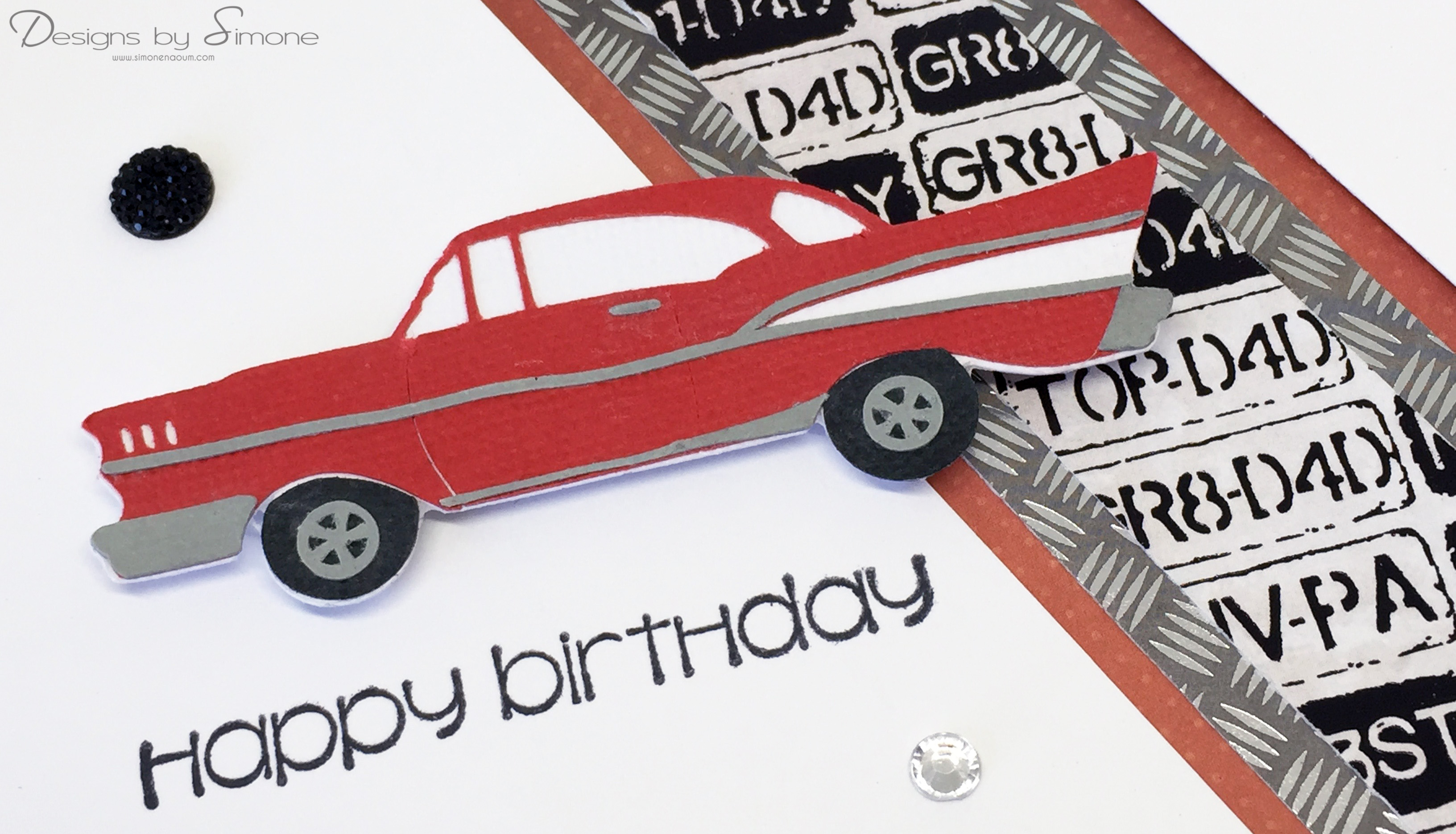birthday card car ; Classic-Car-Birthday-Card-Close-Up