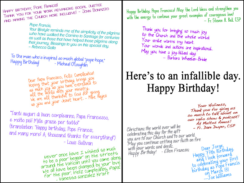 birthday card comments ; popecard-inside