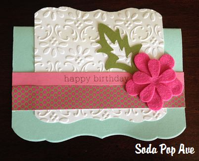 birthday card decoration ideas ; Embossed+Happy+Birthday+Card+with+Felt+Flowers