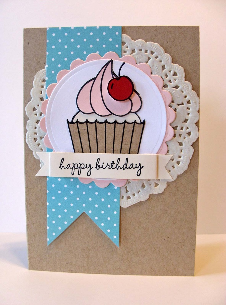 birthday card decoration ideas ; Paper-doily-cupcake-card