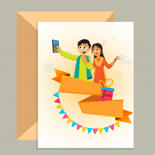birthday card envelope design ; friendship-day-greeting-card-and-envelope-design-with-illustration-of-friends-taking-selfie-by-smartphone_1302-5572