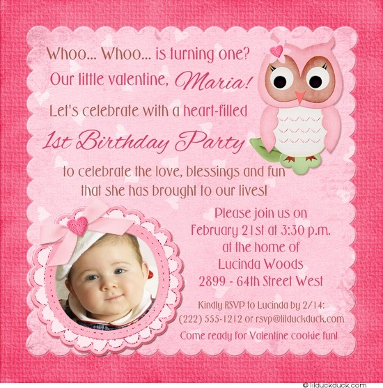 birthday card for a baby girl ; Valentine-owl-birthday-invitation-photo-pink-brown-soft-girl-1st-hoot