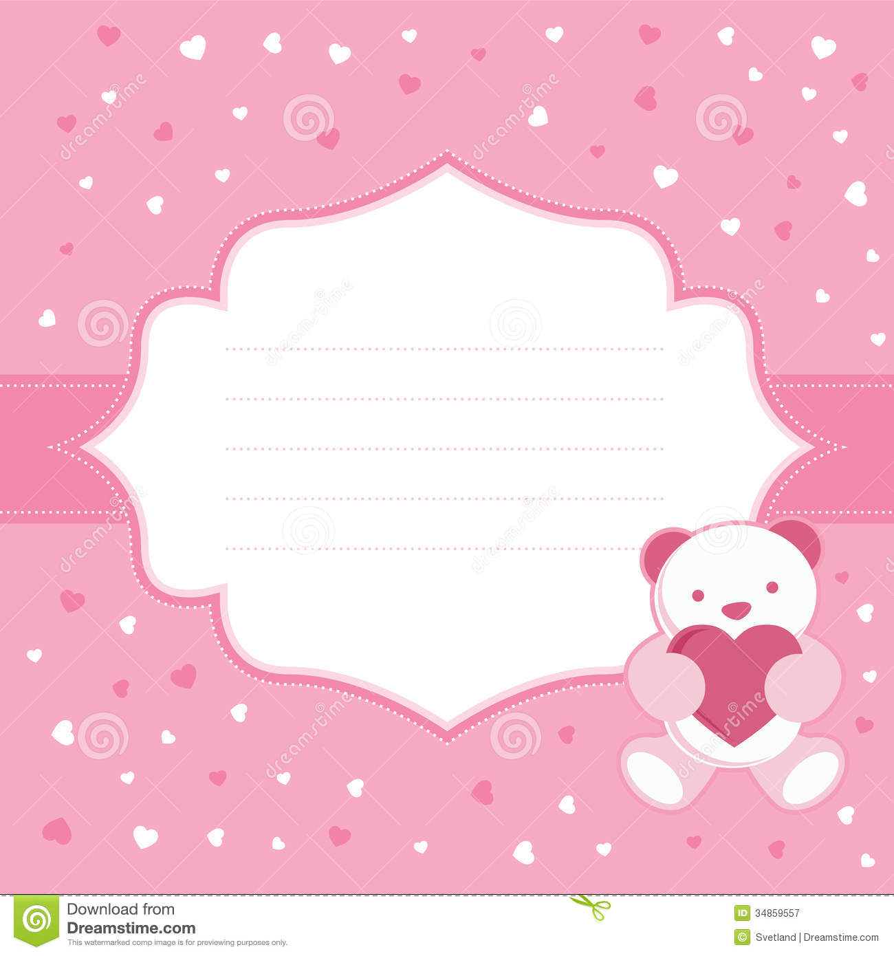 birthday card for a baby girl ; pink-greeting-card-teddy-bear-baby-girl-shower-vector-illustration-34859557