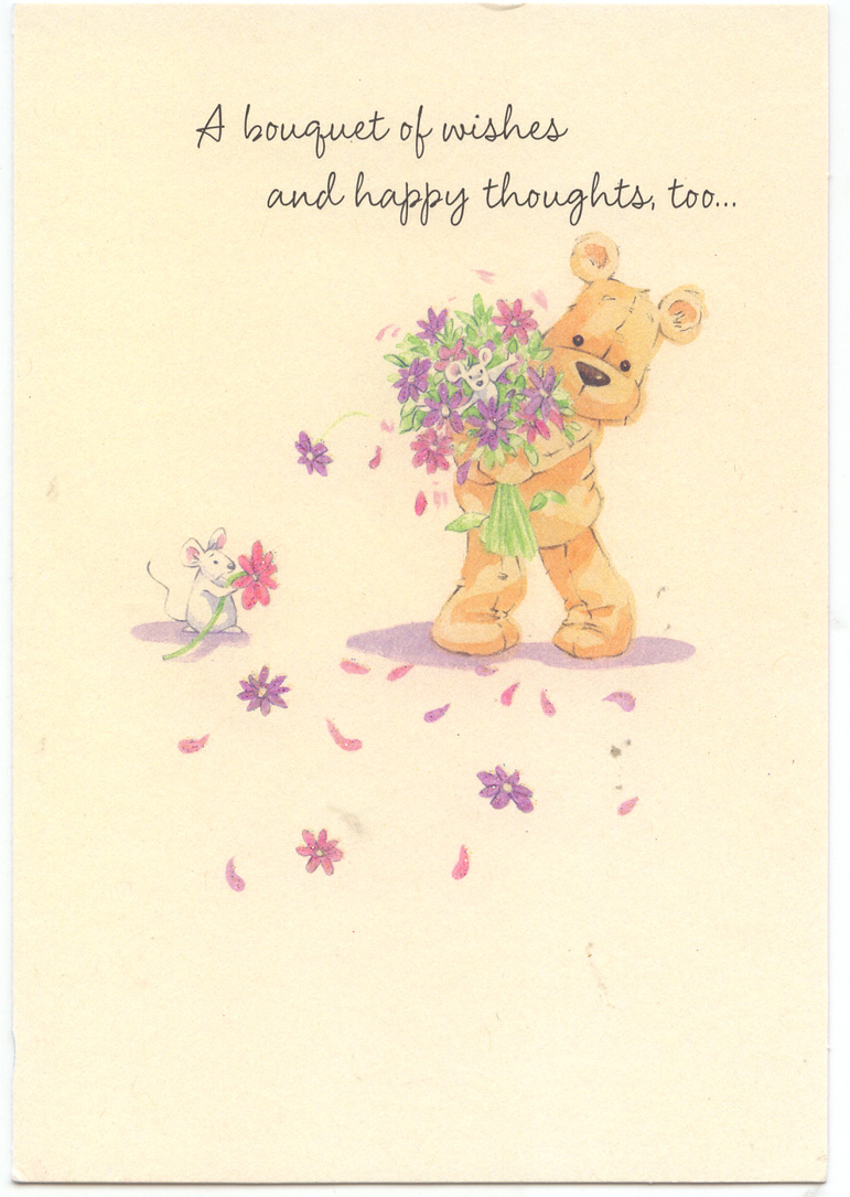 birthday card for a friend far away ; greeting-card-b-d-marge-teddy-bear-with-flowers-2011