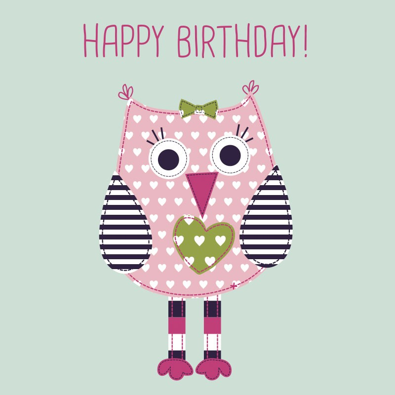 birthday card for little girl ; babycard1_2_2