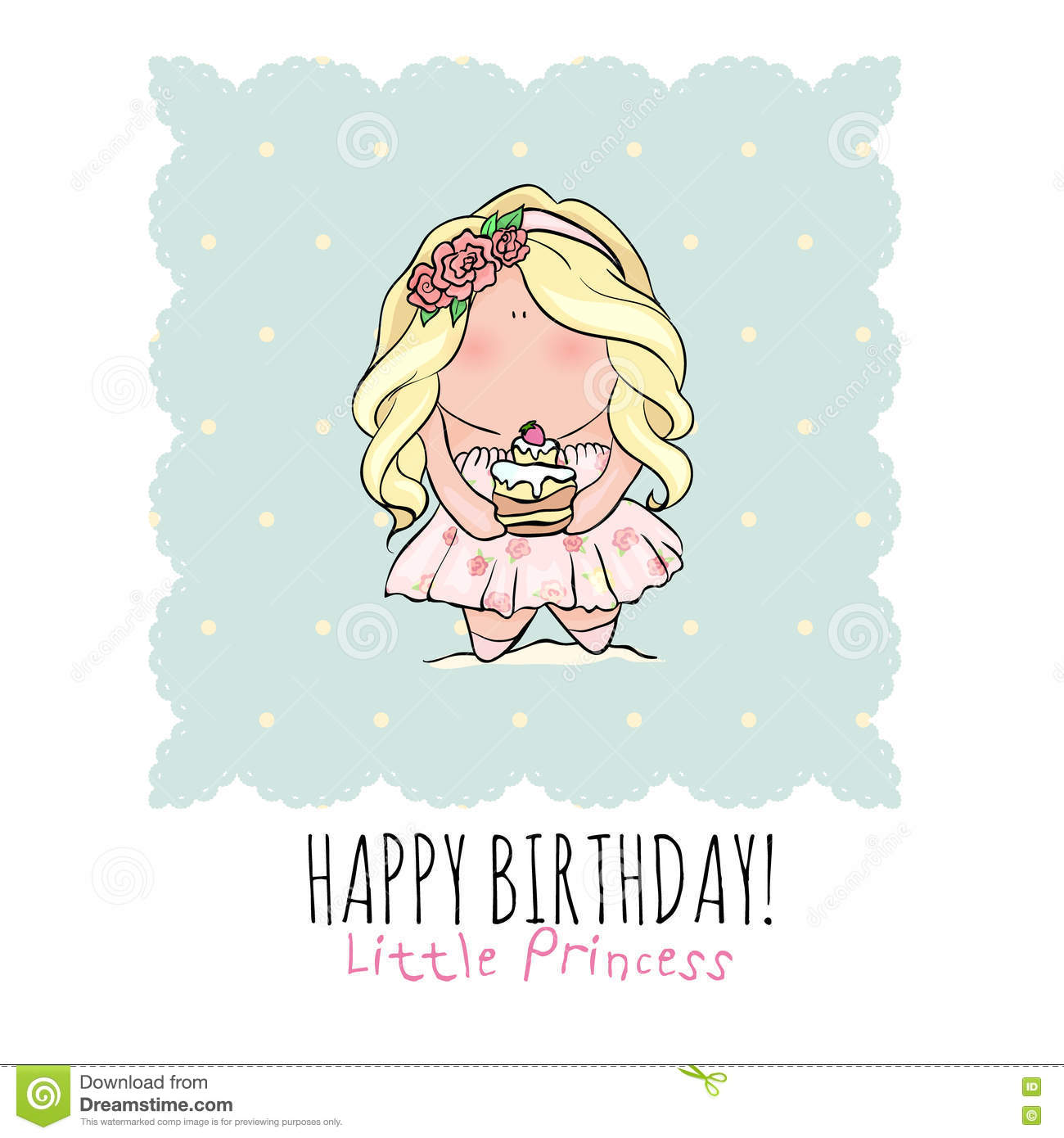 birthday card for little girl ; happy-birthday-card-girl-cute-little-girl-doodle-poster-style-holding-cake-blue-pink-color-princess-cupcake-73619482