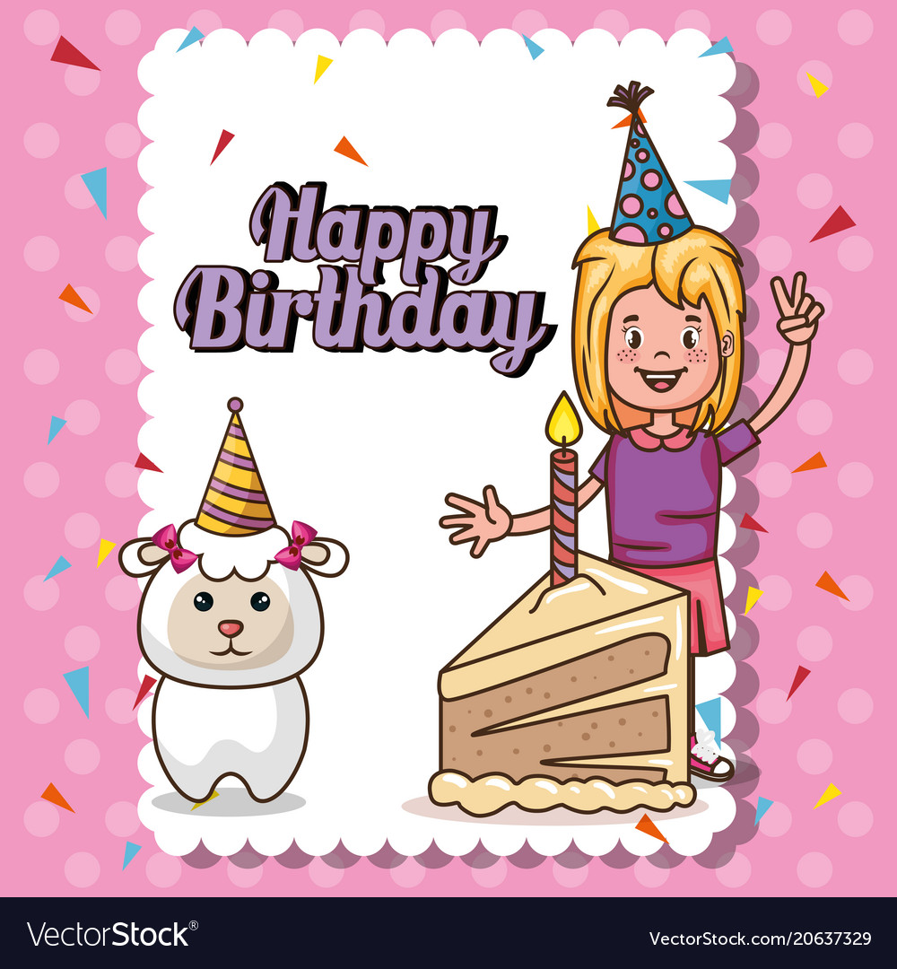 birthday card for little girl ; happy-birthday-card-with-little-girl-vector-20637329