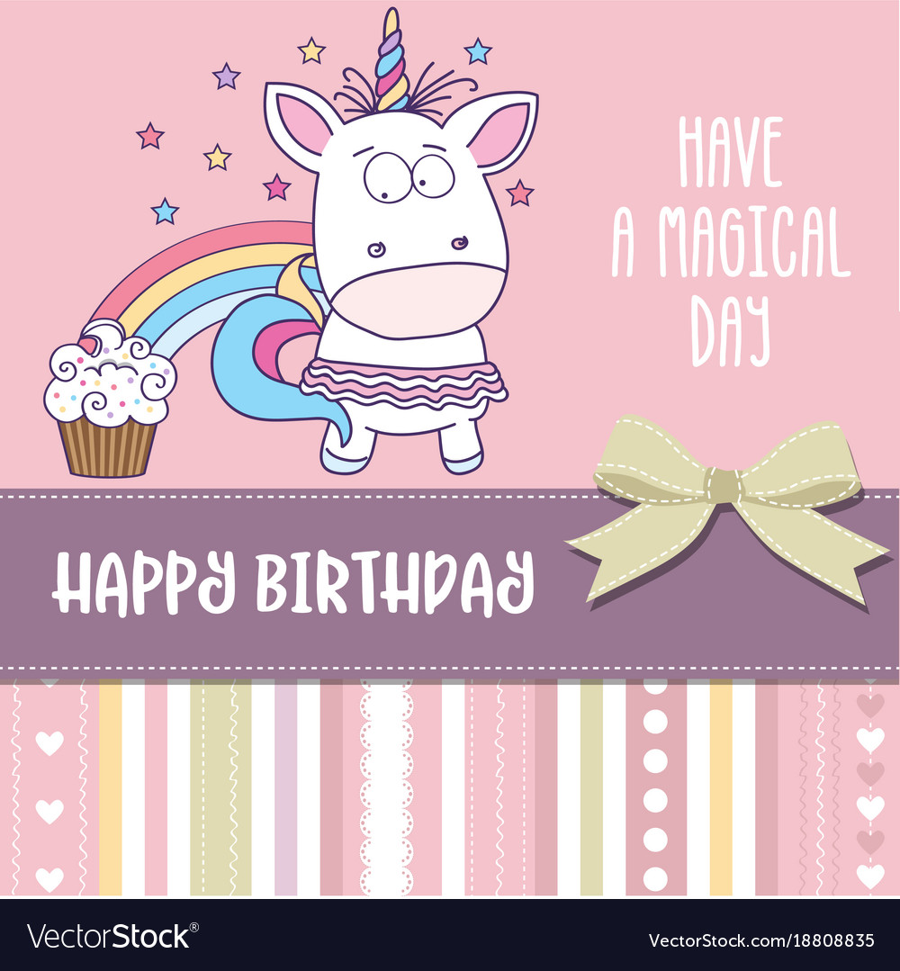 birthday card for little girl ; happy-birthday-card-with-lovely-baby-girl-unicorn-vector-18808835