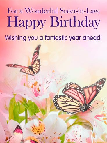 birthday card for my sister in law ; sister-in-law-birthday-cards-butterflies-flowers-happy-birthday-card-for-sister-in-law-printable