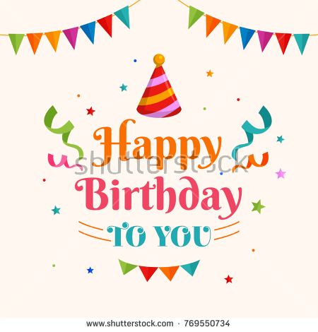 birthday card illustration ; stock-vector-happy-birthday-greeting-card-typography-with-pointed-hat-illustration-and-confetti-ornament-769550734