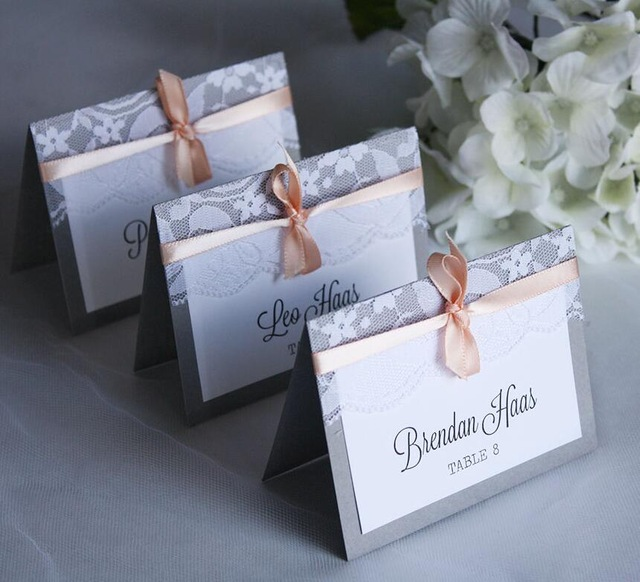 birthday card maker with name ; Gray-Lace-Wedding-Invitations-Table-Name-Place-Card-Customized-With-Name-Birthday-Party-Table-Decorations-NP55