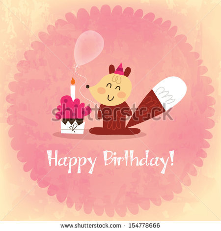 birthday card photo effect ; stock-vector-vintage-happy-birthday-card-invitation-with-a-fox-grunge-effect-vector-eps-154778666