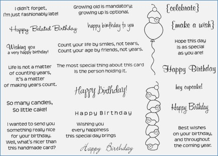 birthday card salutations ; loving-sentiments-unmounted-rubber-stamp-sheet-of-birthday-card-salutations
