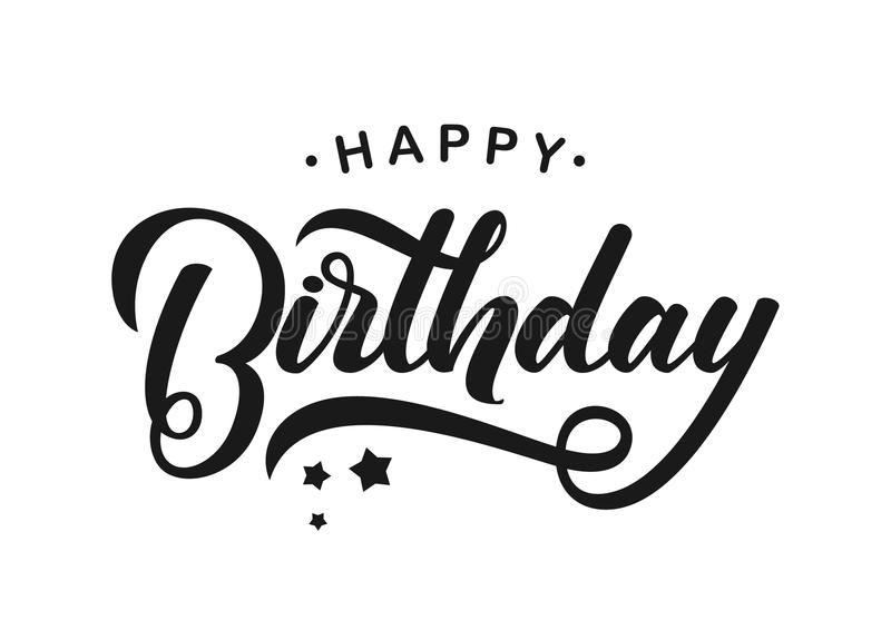 birthday card typography ; handwritten-modern-brush-lettering-happy-birthday-white-background-typography-design-greetings-card-vector-illustration-108723050