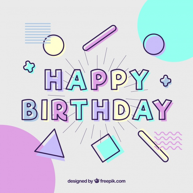 birthday card typography ; happy-birthday-card-with-typography-in-flat-style_23-2147795466
