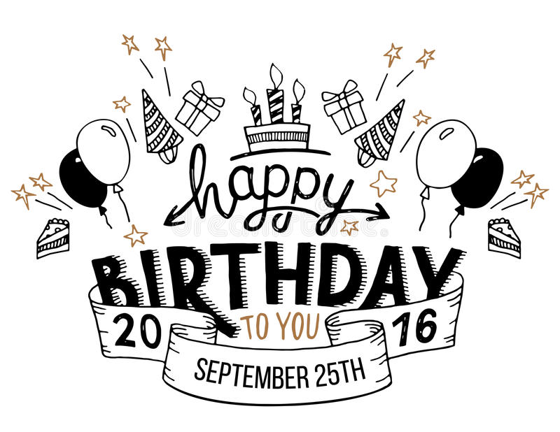 birthday card typography ; happy-birthday-greeting-card-hand-lettering-to-you-drawn-typography-headline-cards-vintage-style-white-background-67037456