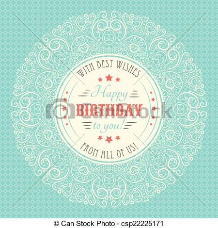 birthday card typography ; vintage-happy-birthday-card-typography-image_csp22225171