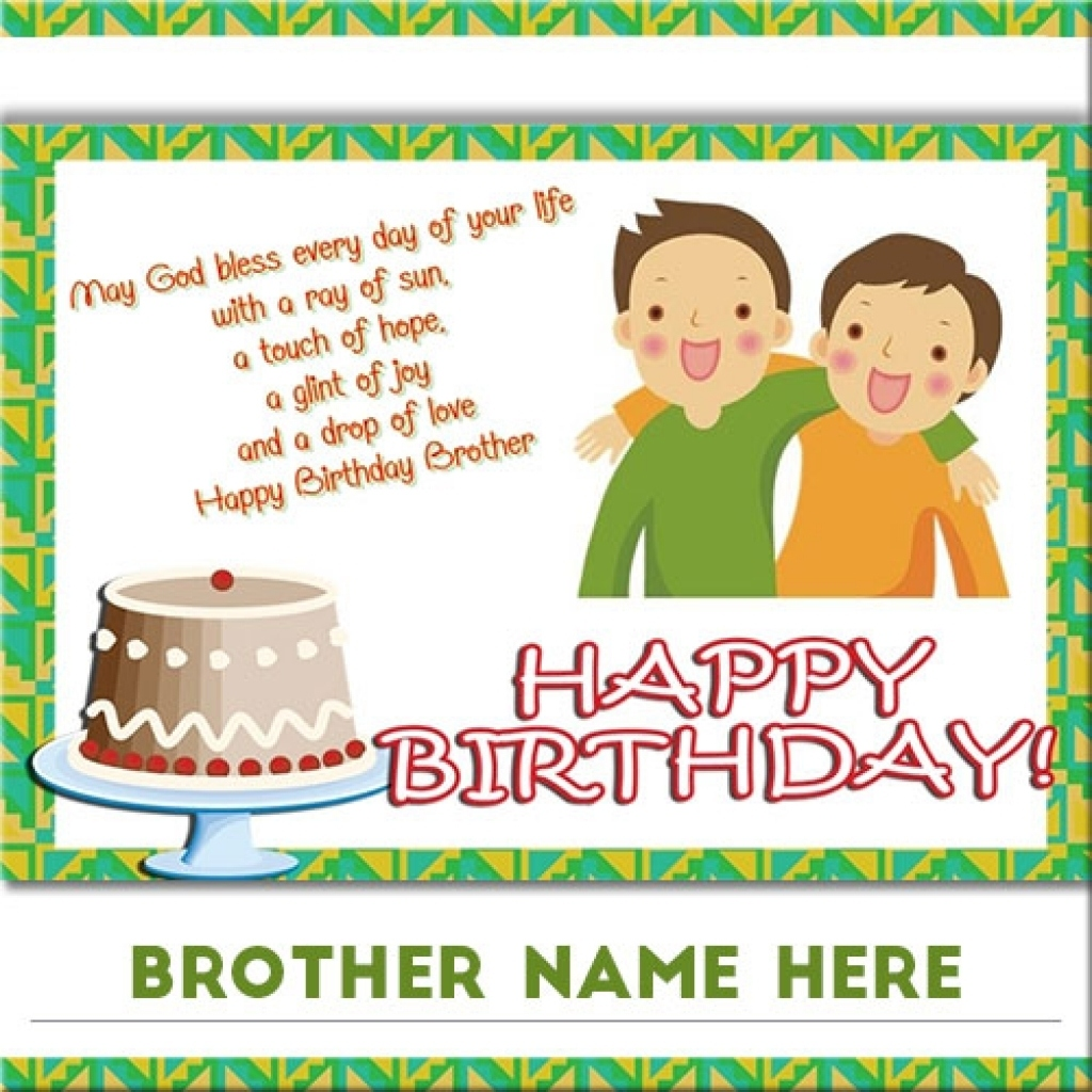 Birthday Cards For Brother With Name And Photo Card Lovely