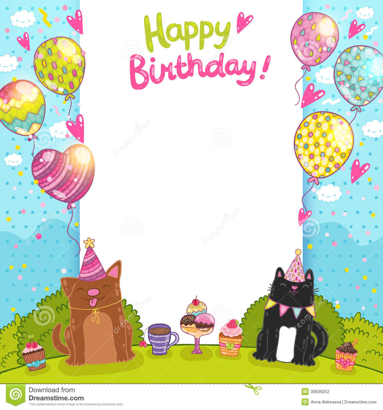 birthday cartoon background ; happy-birthday-background-cat-dog-card-cupcakes-39939252