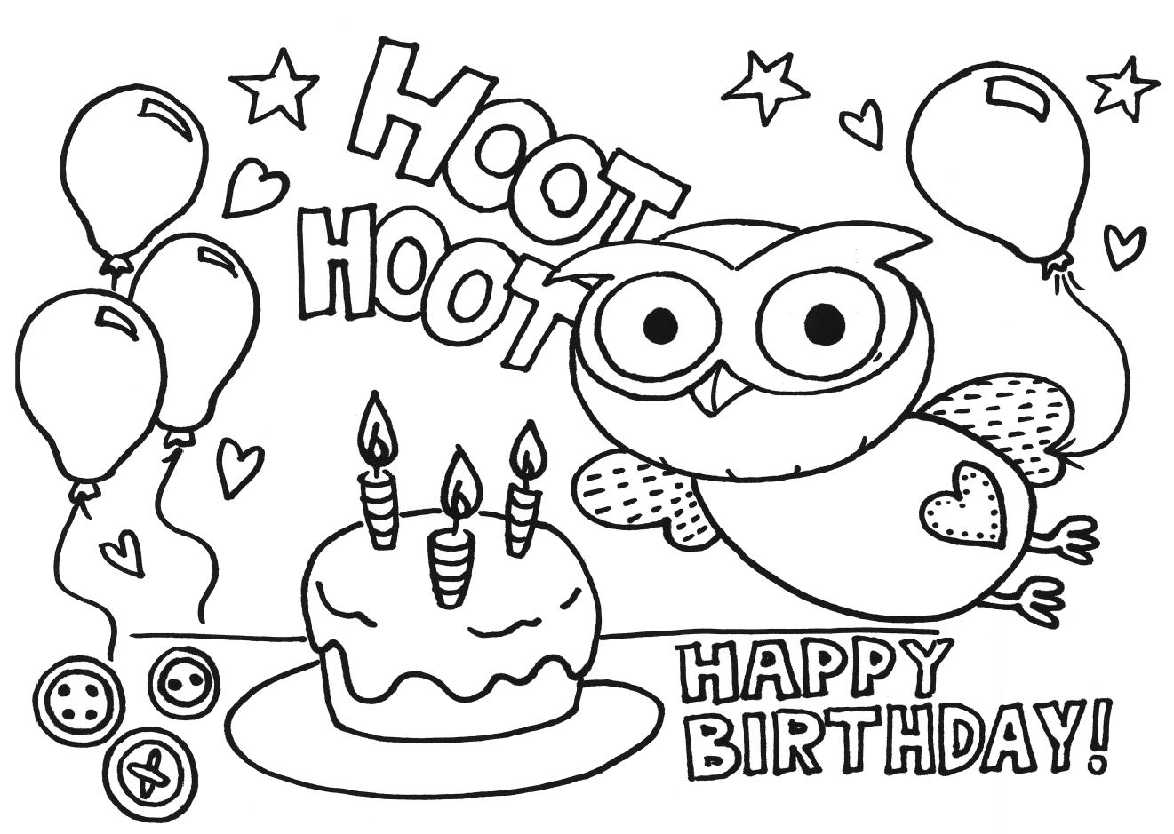 birthday colouring in ; Giggle+Hoot+Birthday+Cake+Drawing+Art+Colouring+Color+Book+Page+Sheet