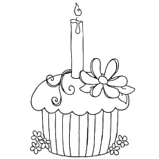 birthday colouring in ; The-Birthday-Cupcake