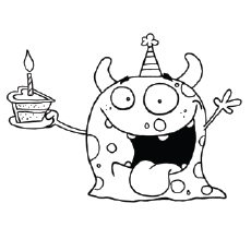 birthday colouring in ; The-Cute-Monster-Wishing-Birthday