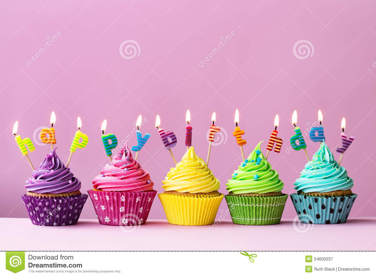 birthday cupcakes ; happy-birthday-cupcakes-candles-spelling-words-54600337