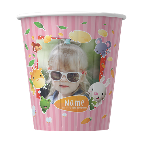 birthday cups with photo printed ; mockup_cute-animals-frame