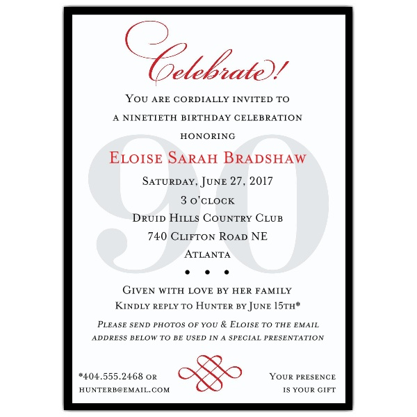 birthday dinner invite message ; Classic-90th-Birthday-Invitations-p-607-57-90-z